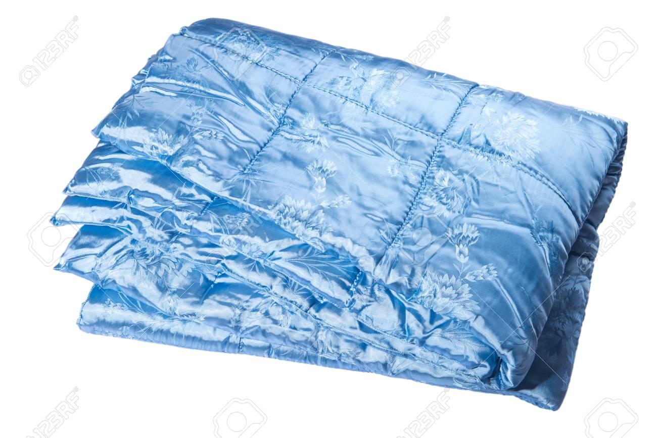 Bright blue satin blanket on a white background Stock Photo - 48957236 ed9262325