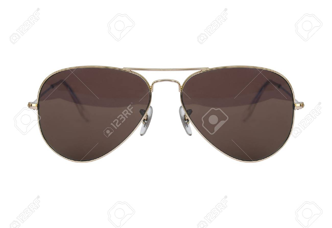 2648c2703cd Aviator Sunglasses Gold Frame Isolated On White Background