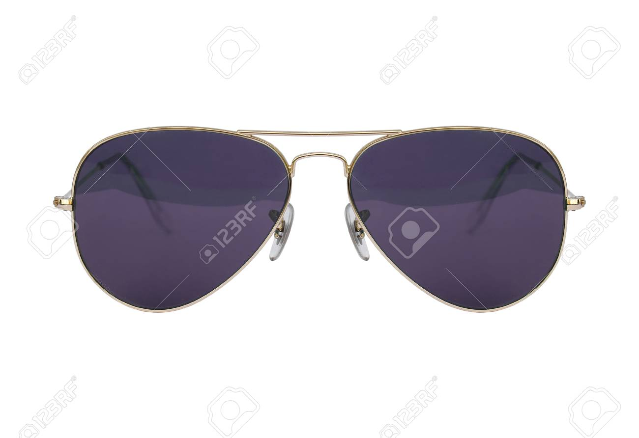 Aviator Sonnenbrille Gold Rahmen Isoliert Auf Weißem Hintergrund ...