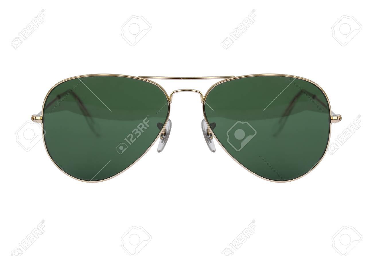 Gafas De Sol De Aviador Marco De Oro Aislado En Fondo Blanco, Gafas ...