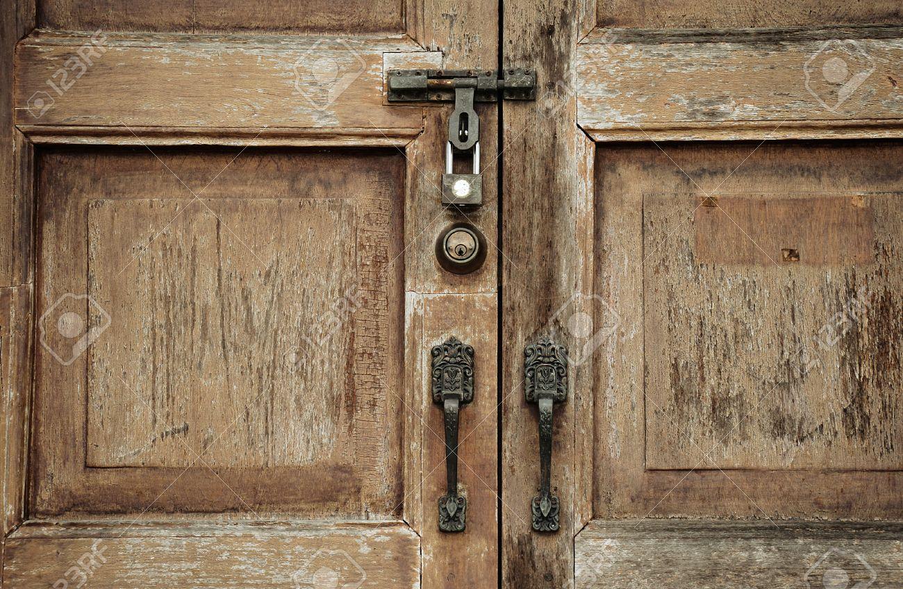 Old wooden door with ornaments Locked wooden door secret mystic Stock Photo - & Old Wooden Door With Ornaments Locked Wooden Door Secret Mystic ...