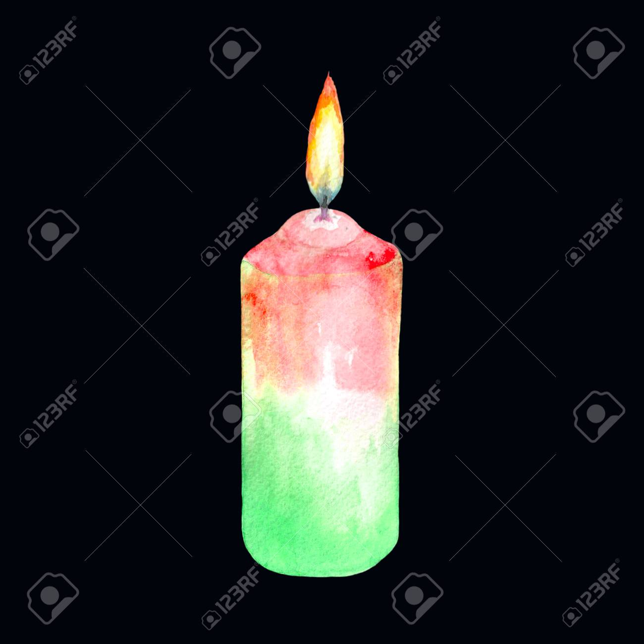 Watercolor Illustration Of A Lit Candle Red-green Color. Isolated ... for Candle Drawing With Color  29jwn