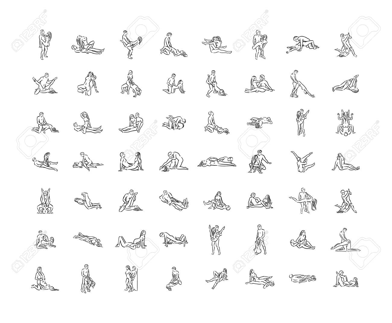 Kama sutra pose. Sex poses illustration of man and woman on white background - 117807194