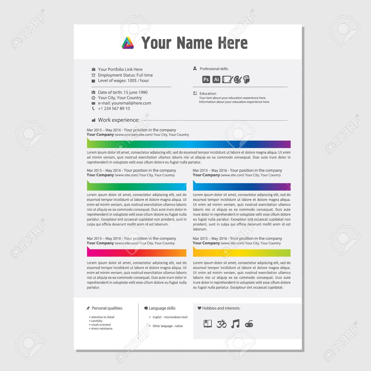 Professional Cv Resume Color Template Design For A Creative Person