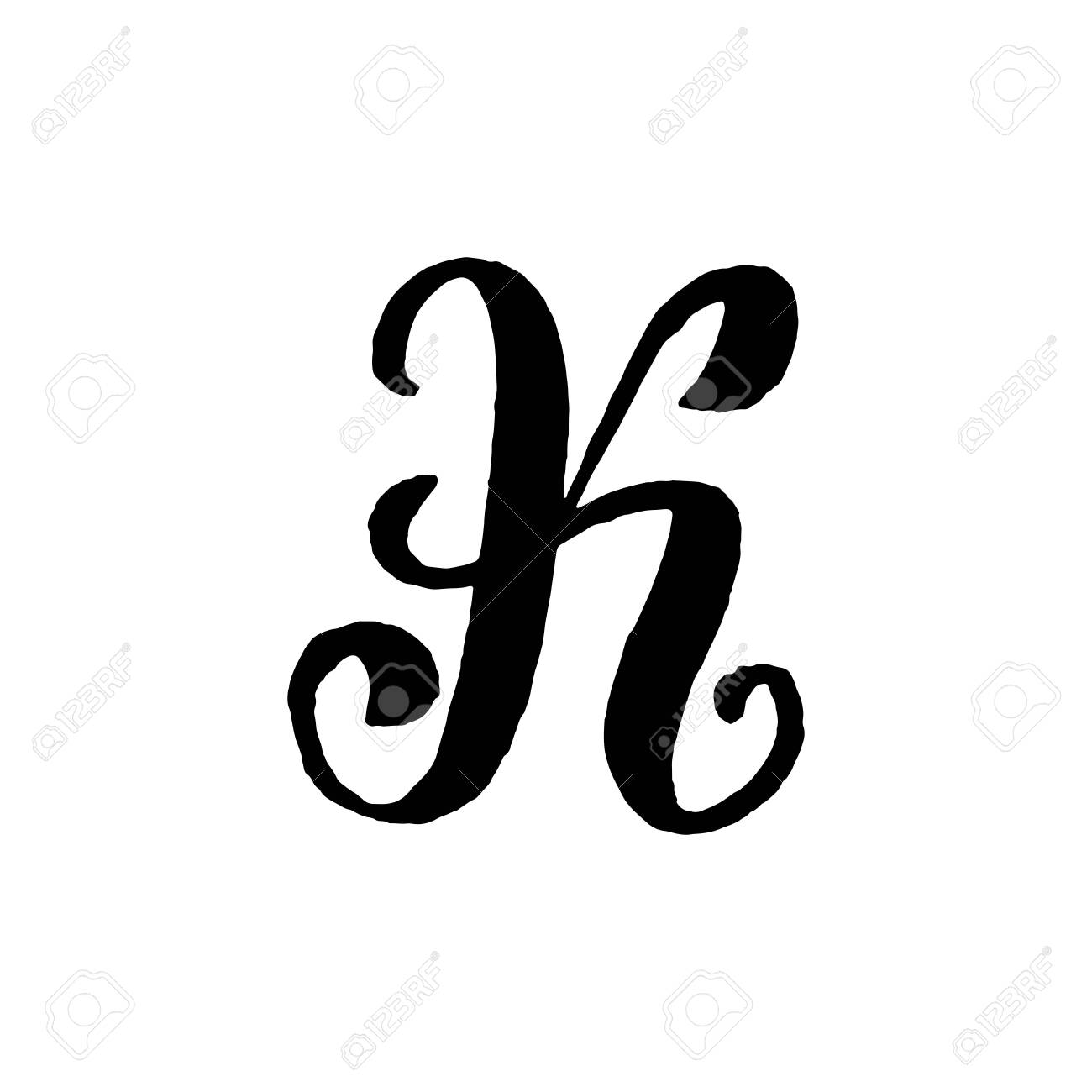 Beautiful Hand Written Capital Letter K With Curls On White Background