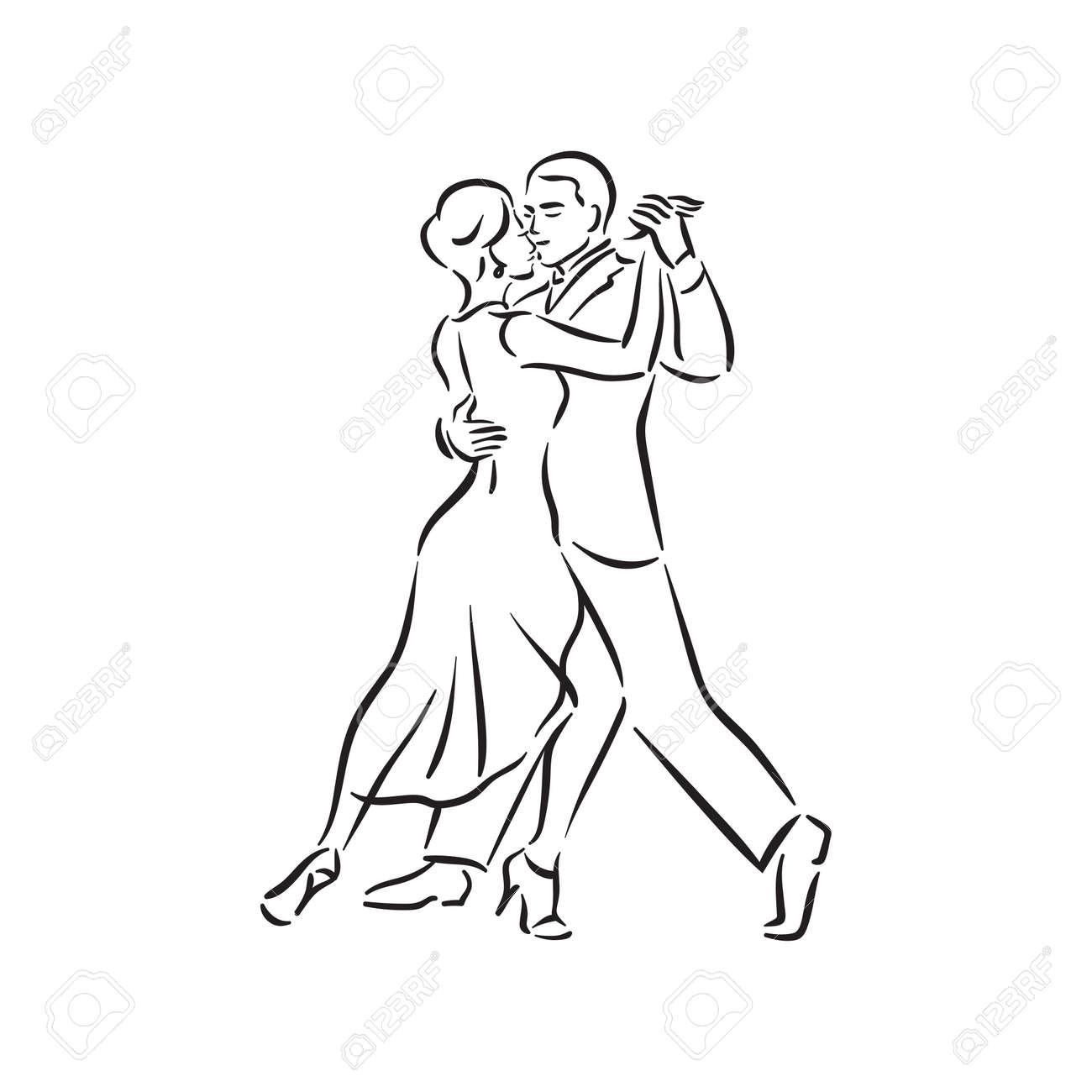 Argentine tango and salsa romance couple social pair dance illustration - 158190480
