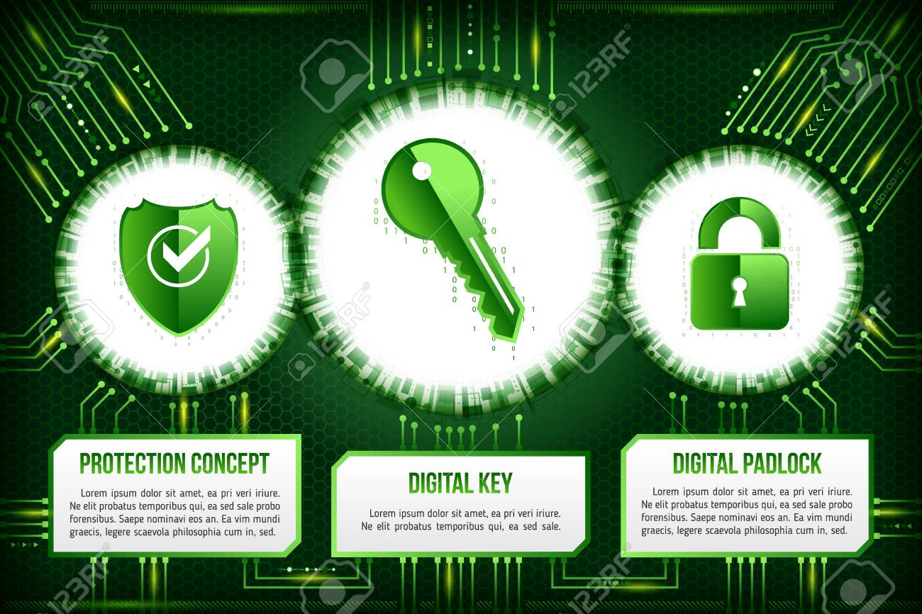 Digital Technology Concept Of Background With Shield Key And Electronic Circuit Padlock Board
