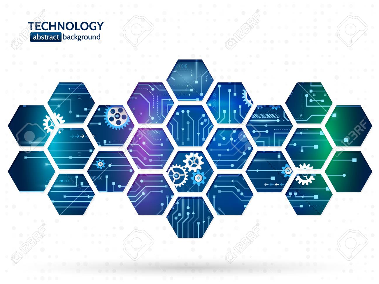 Abstract technology background with hexagons and gear wheels. Hi-tech circuit board vector illustration - 85355421