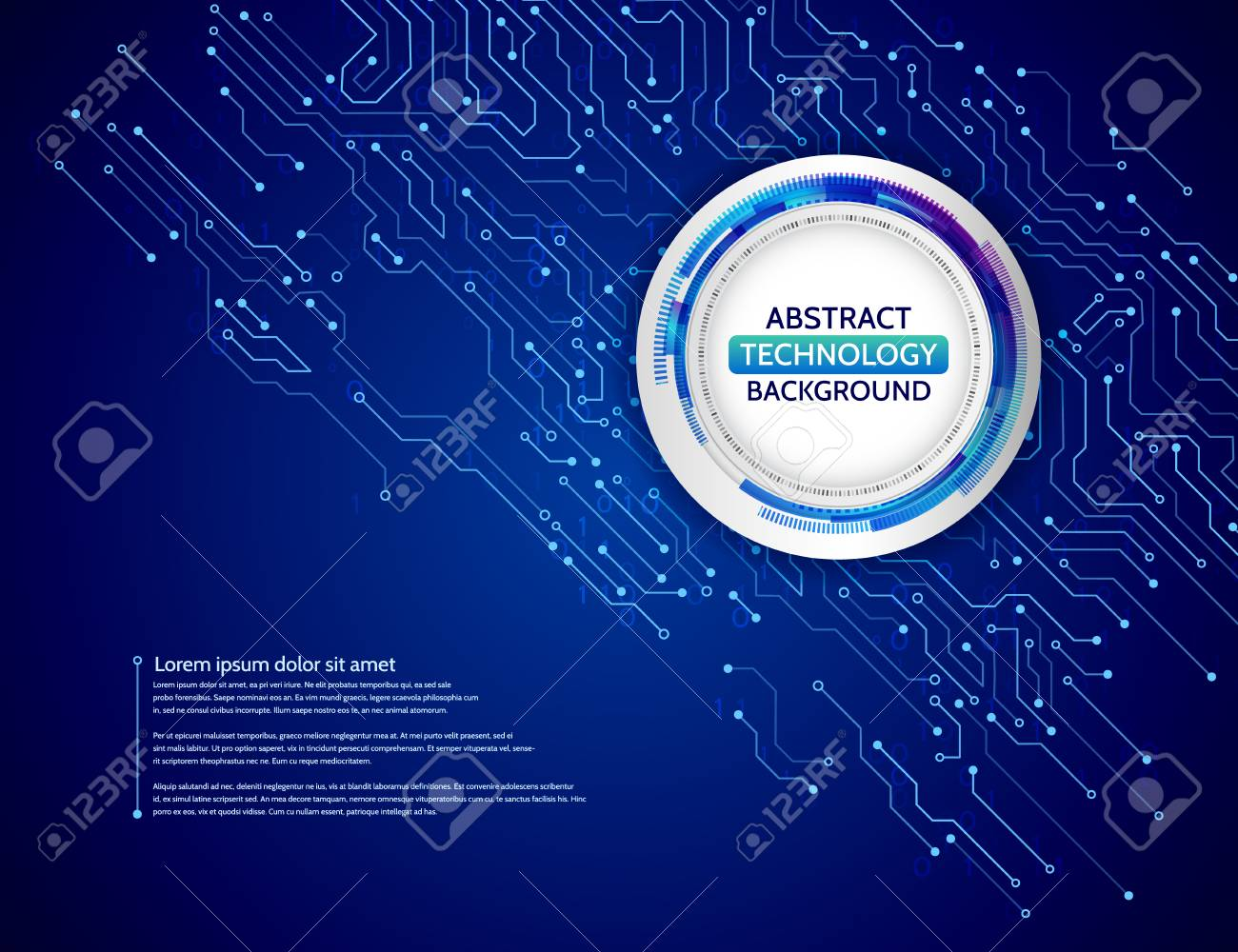 High Tech Technology Background Texture Blue Circuit Board Vector Photo Of Abstract With Illustration Stock