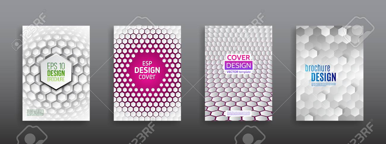 abstract hexagon flyer design vector annual report brochure