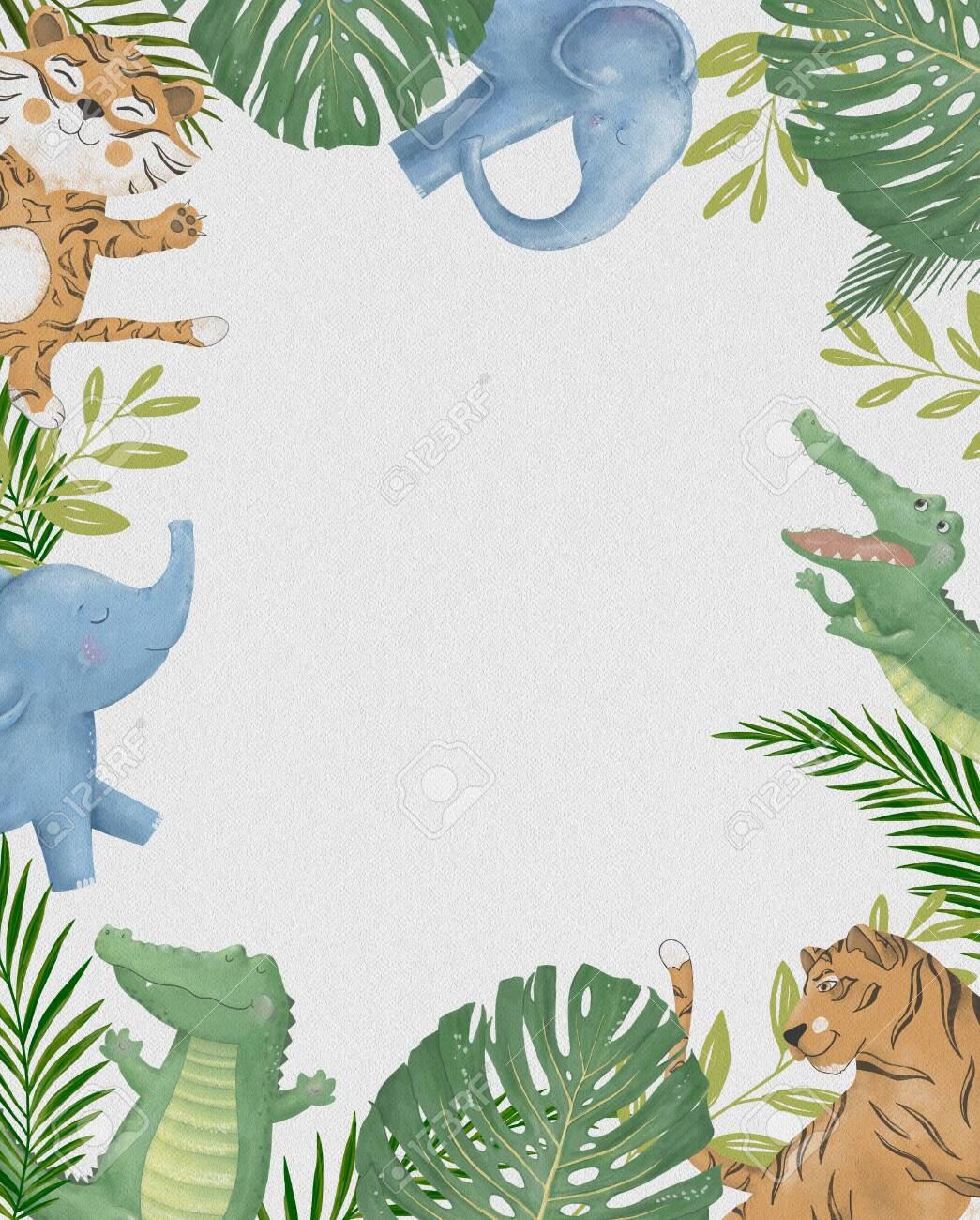 Cute Safari Cartoon Animals Border With Cloud Shaped Copy Space