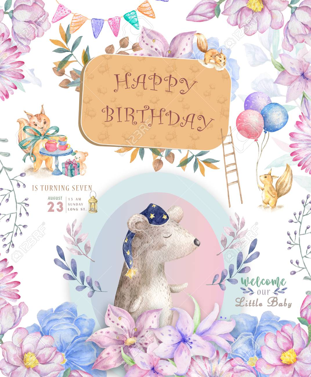 Happy Birthday Card With Cute Tiger Watercolor Animal Baby Greeting Boho Flowers