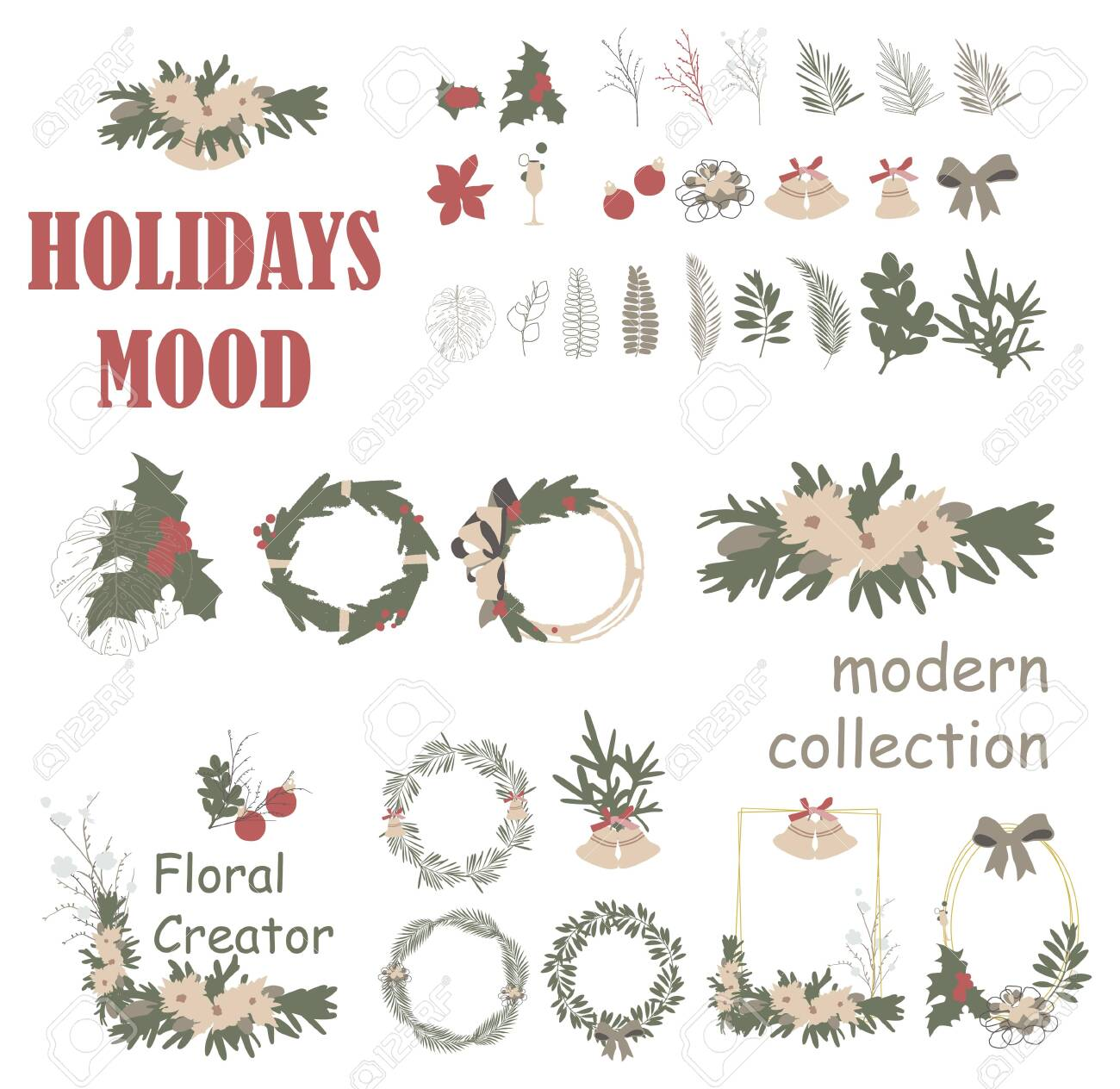 Christmas Wreath 2020 Clipart Christmas Wreath Frame Collection. Modern Illustration For