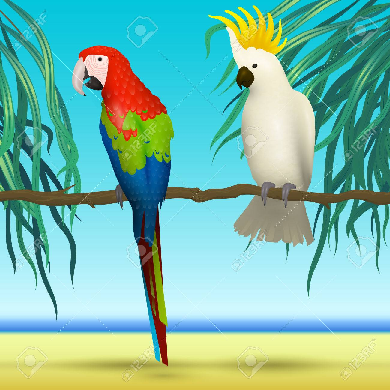 realistic tropical birds on sunny background with sea palm leaves