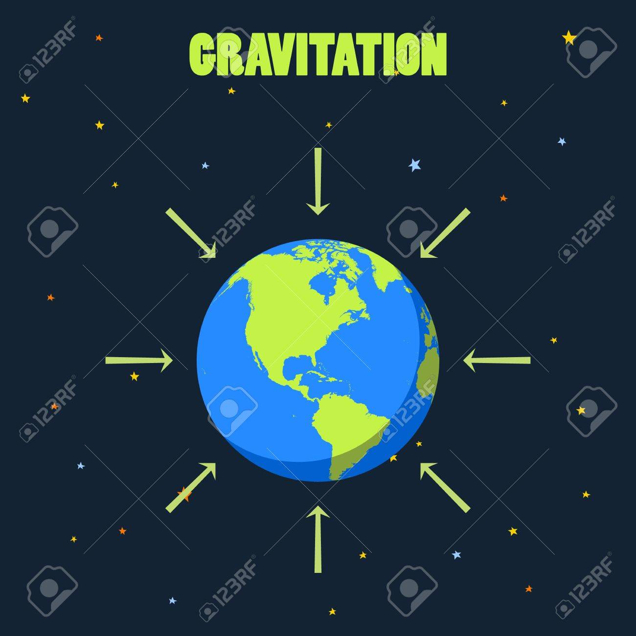 gravitation on planet earth concept illustration with planet and arrows  that shows how force of gravity acts on earth realistic vector of earth  earth in
