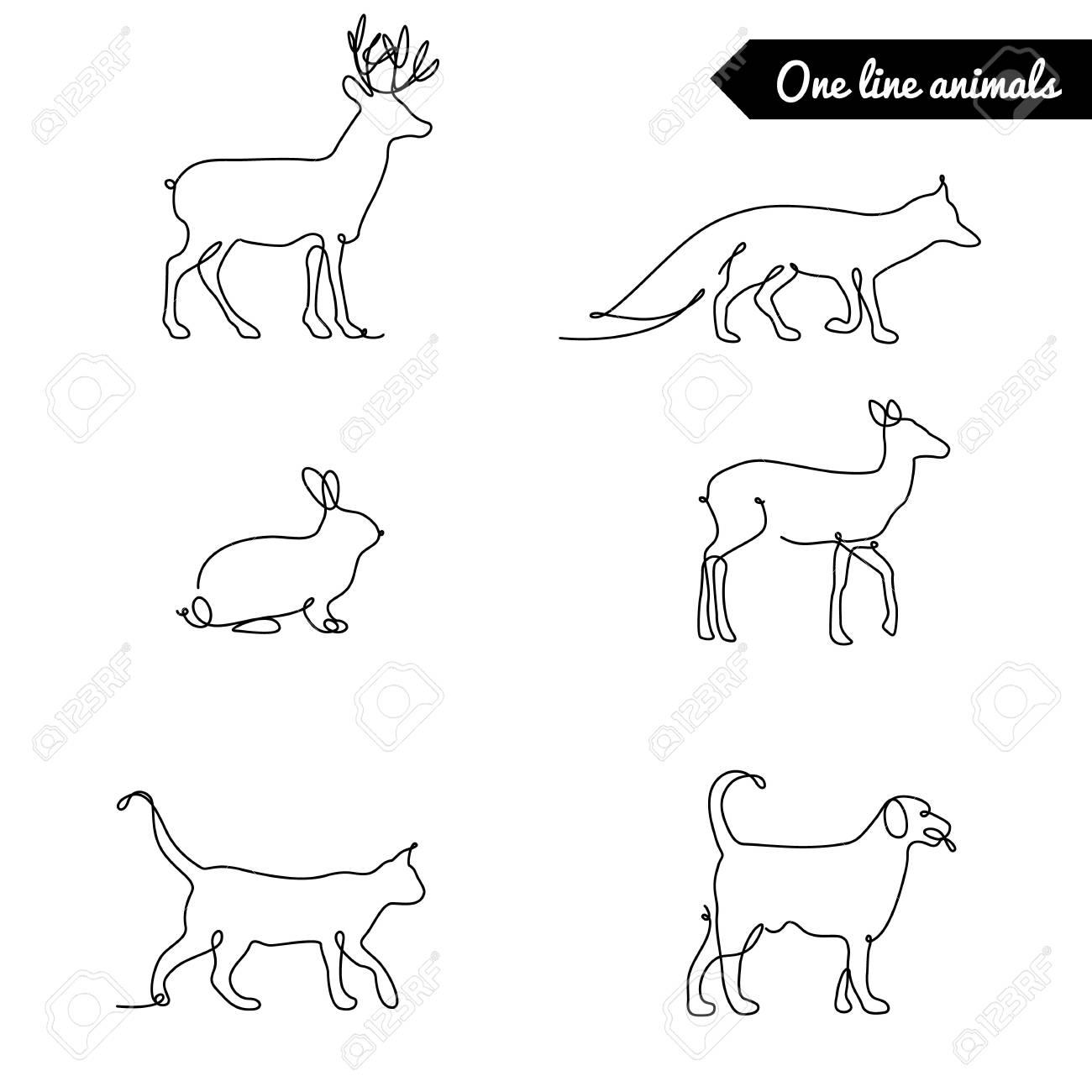 One line animals set stock vector 63507305