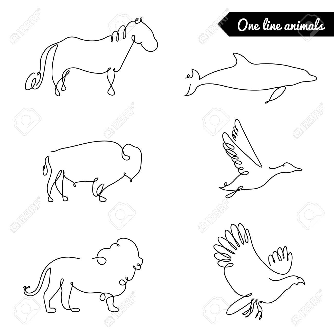 One line animals set stock vector 63507330