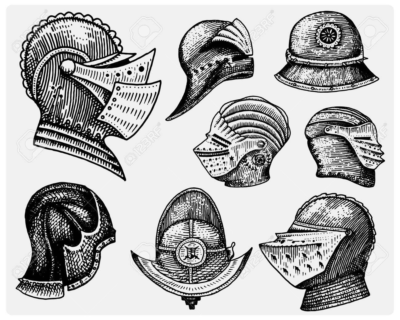 set of medieval symbols battle helmets for knights or kings stock