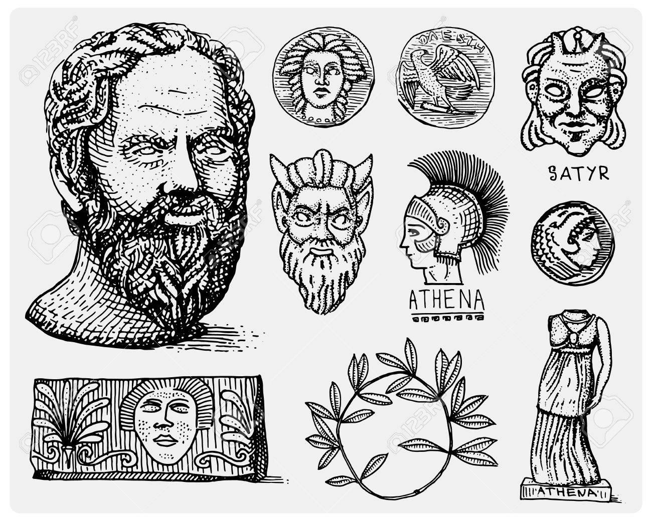 Ancient greece antique symbols socrates head laurel wreath ancient greece antique symbols socrates head laurel wreath athena statue and satyr face biocorpaavc Images