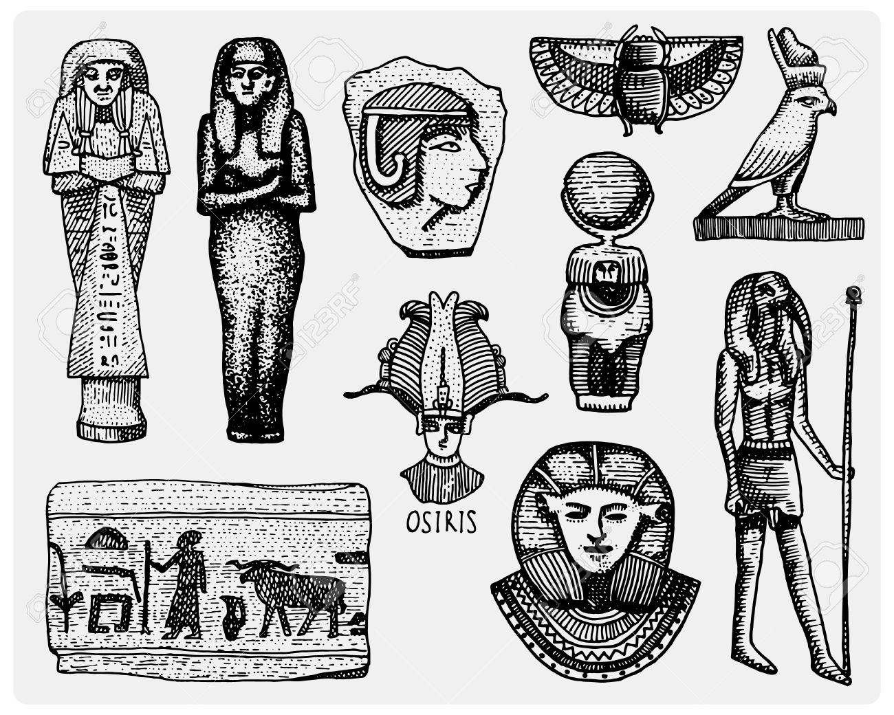 Egyptian Symbols Pharaon Scorob Hieroglyphics And Osiris Head