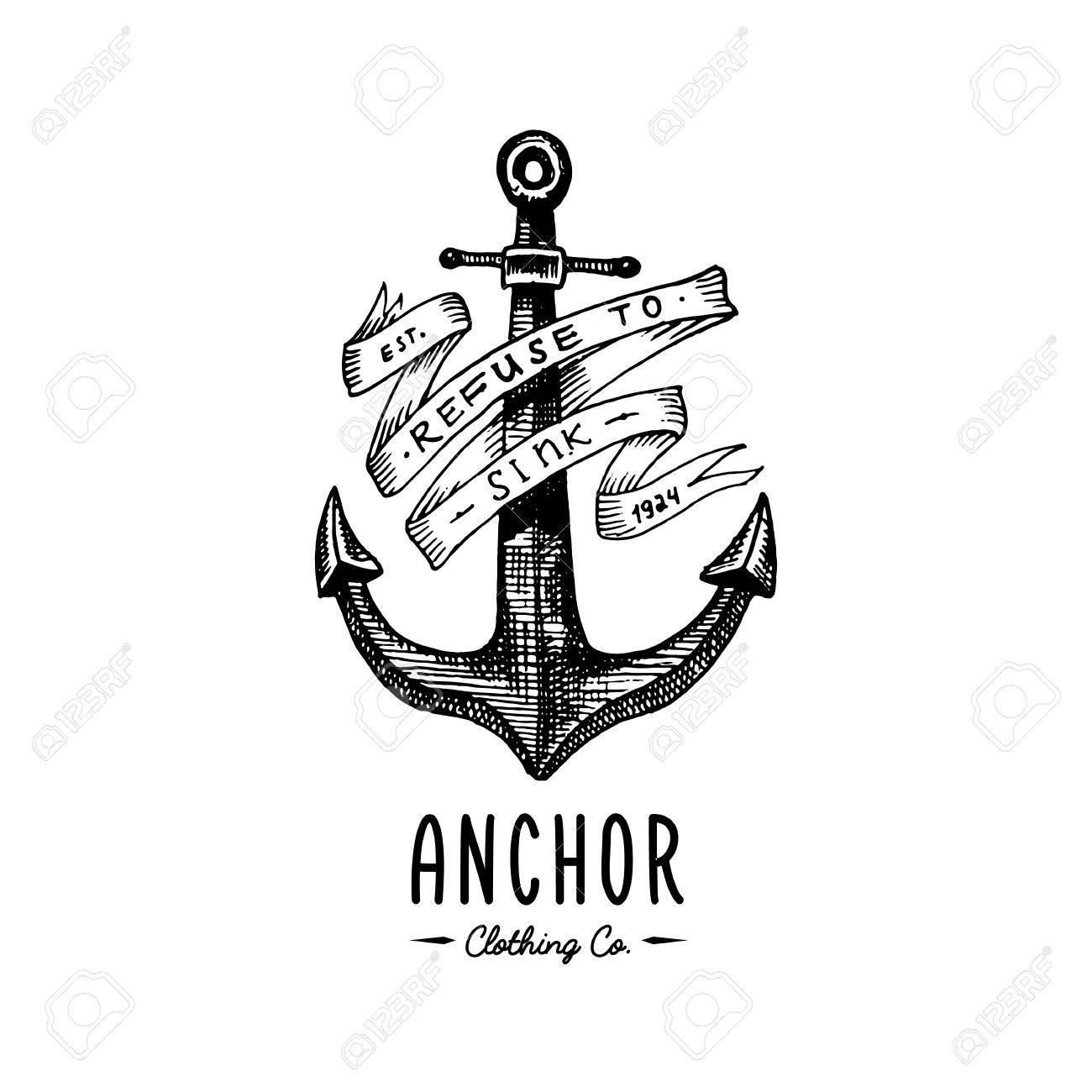 b43490a62 Anchor engraved vintage in old hand drawn or tattoo style, drawing for  marine, aquatic