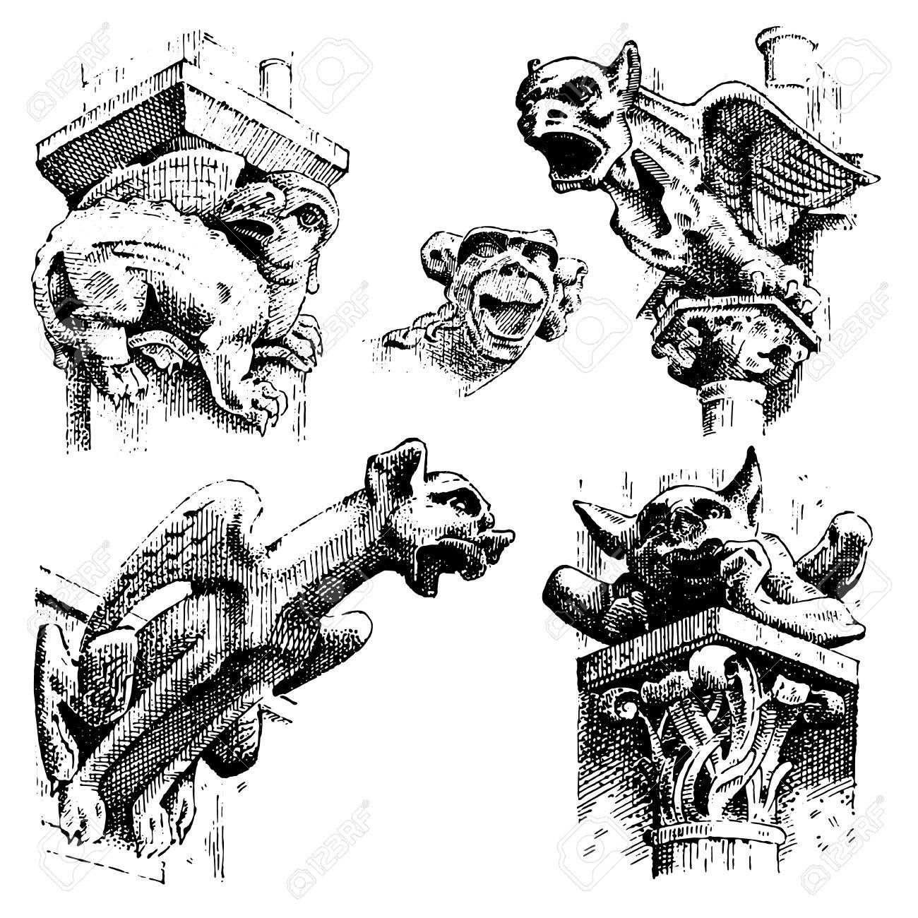 set of Gargoyles Chimera of Notre-Dame de Paris, engraved, hand drawn vector illustration with gothic guardians include architectual elements, vintage statue medieval - 75739135
