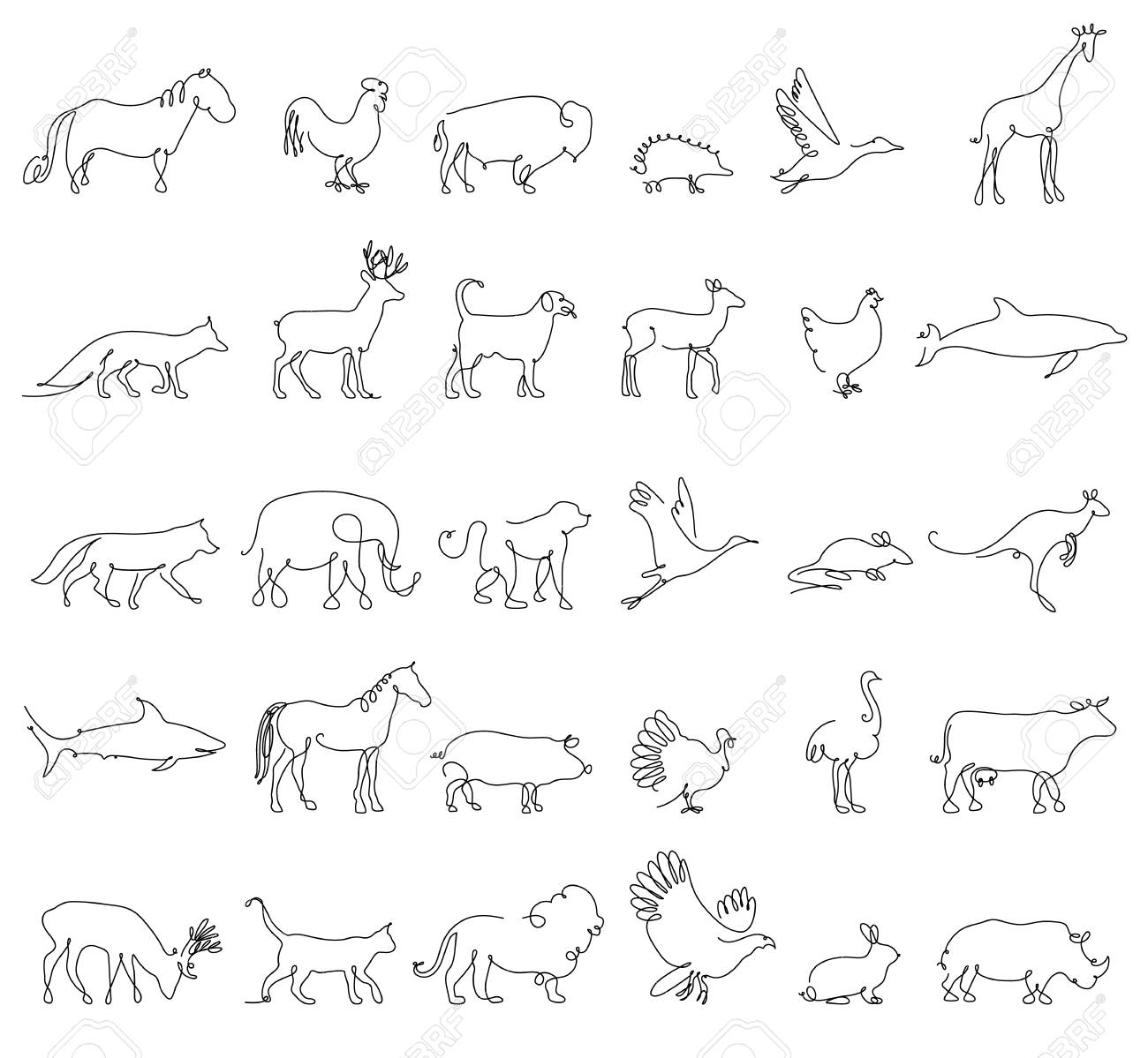 One line animals set logos vector stock illustration turkey and cow pig and eagle giraffe and horse dog and cat fox and wolf dolphin and shark