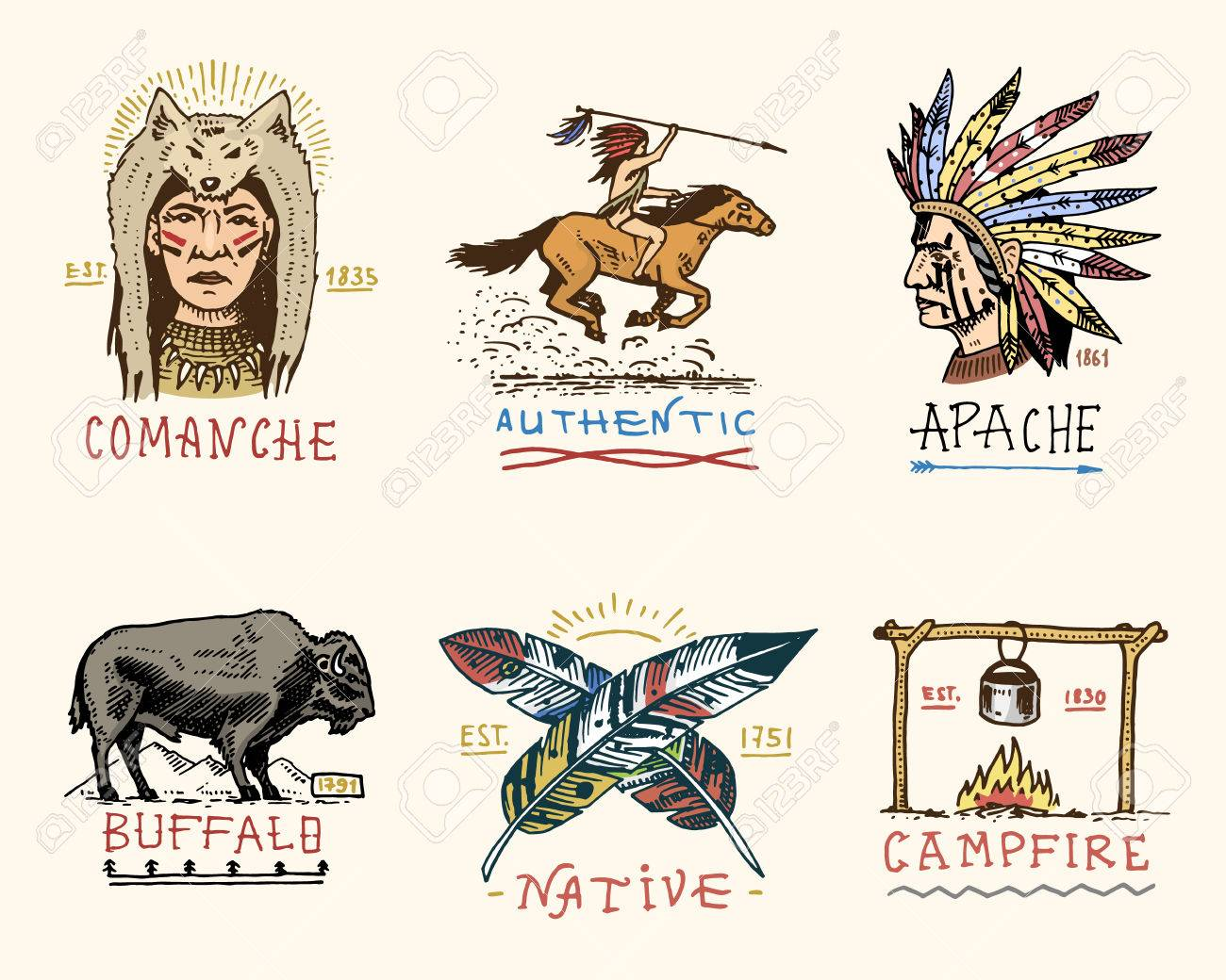 set of engraved vintage, hand drawn, old, labels or badges for indian or native american. buffalo, face with feathers, horse rider, apache or comanche, campfire and authentic. Stock Vector - 80730130
