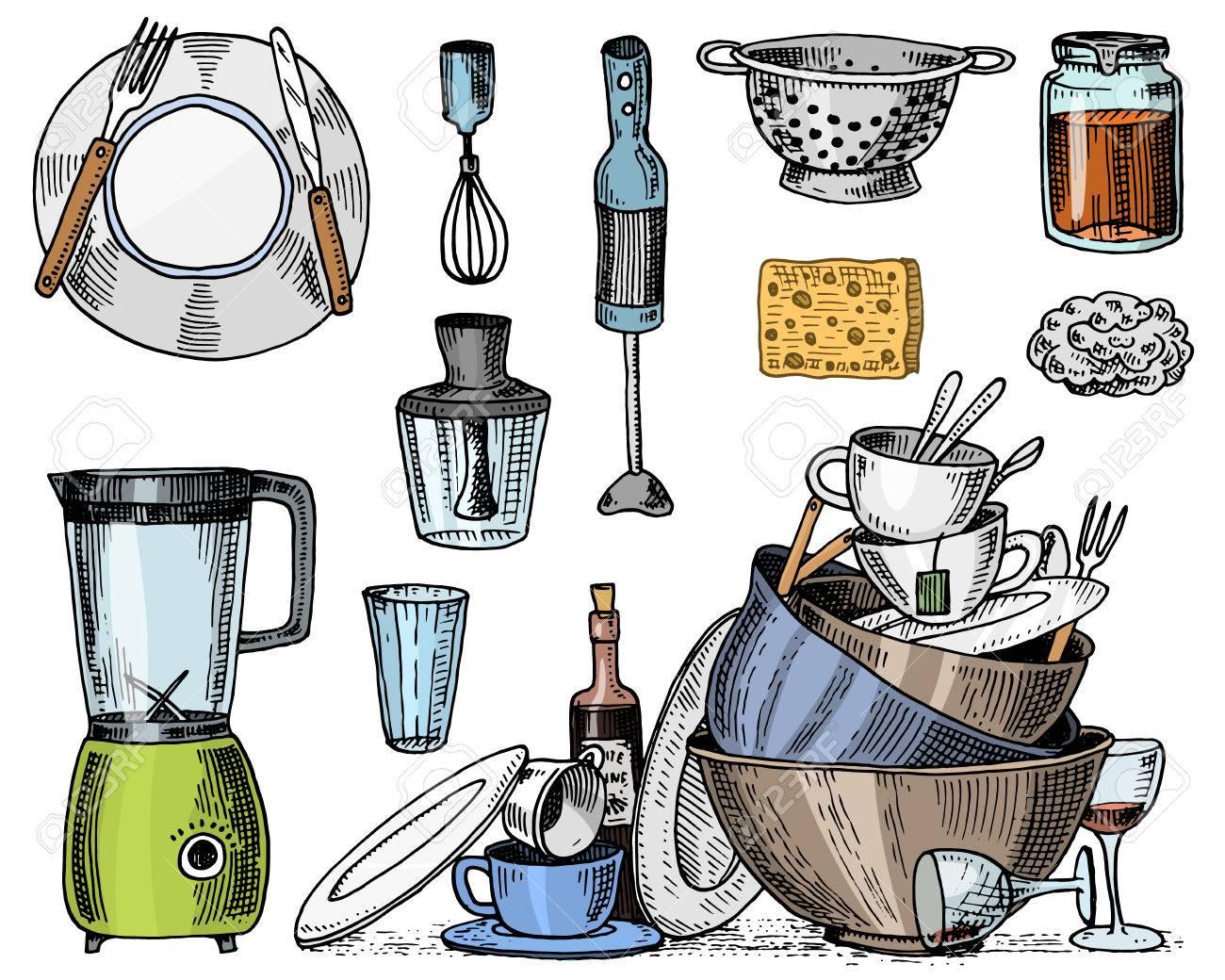 Passoire, mélangeur et presse-agrumes, vaisselle sale, confiture et éponge  pour le lavage. Chef et ustensiles de cuisine sales, produits de cuisine