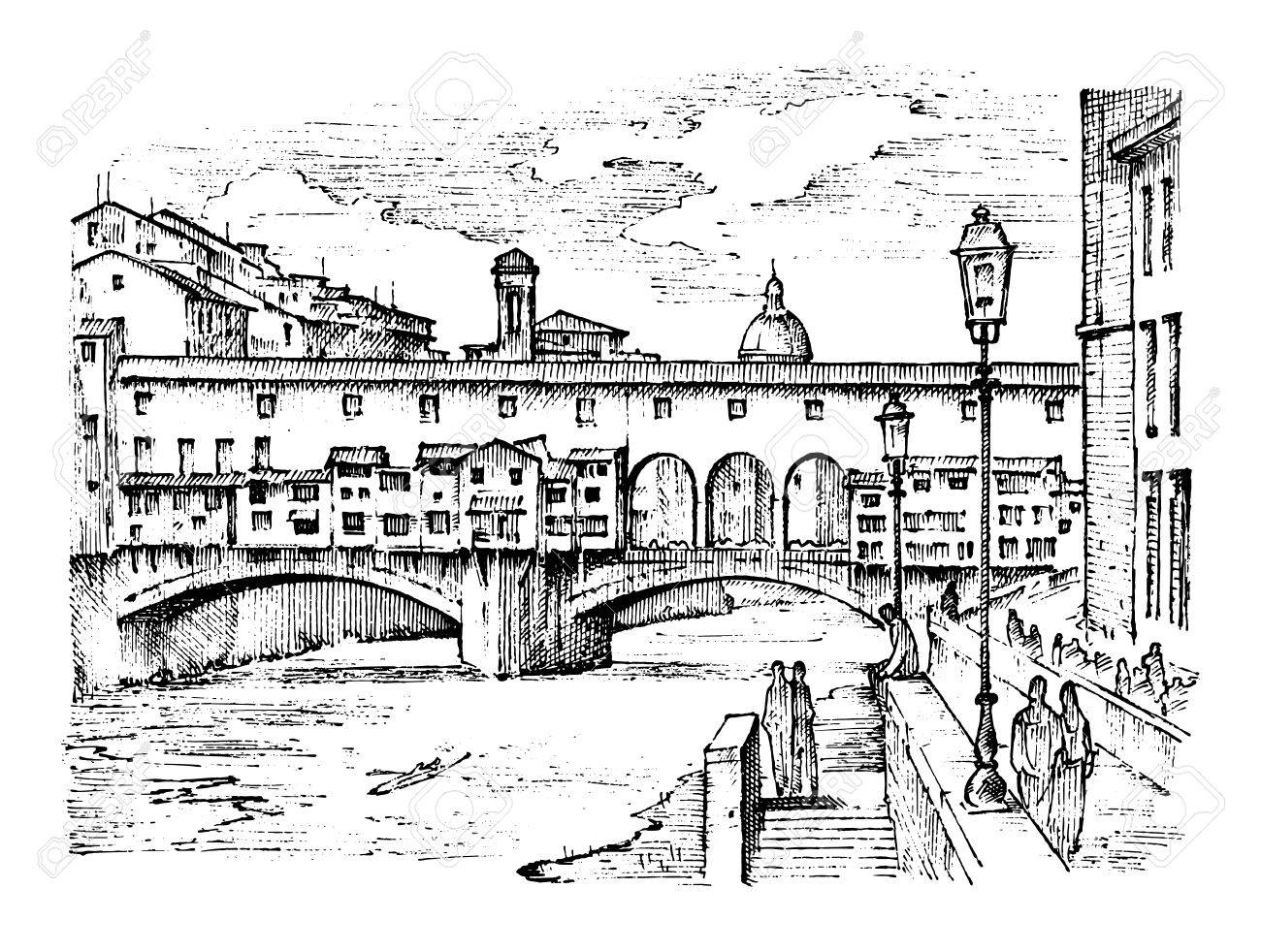landscape in European town Florence in Italy. engraved hand drawn in old sketch and vintage style. historical architecture with buildings, perspective view. Travel postcard. Ponte Vecchio bridge. - 83368089