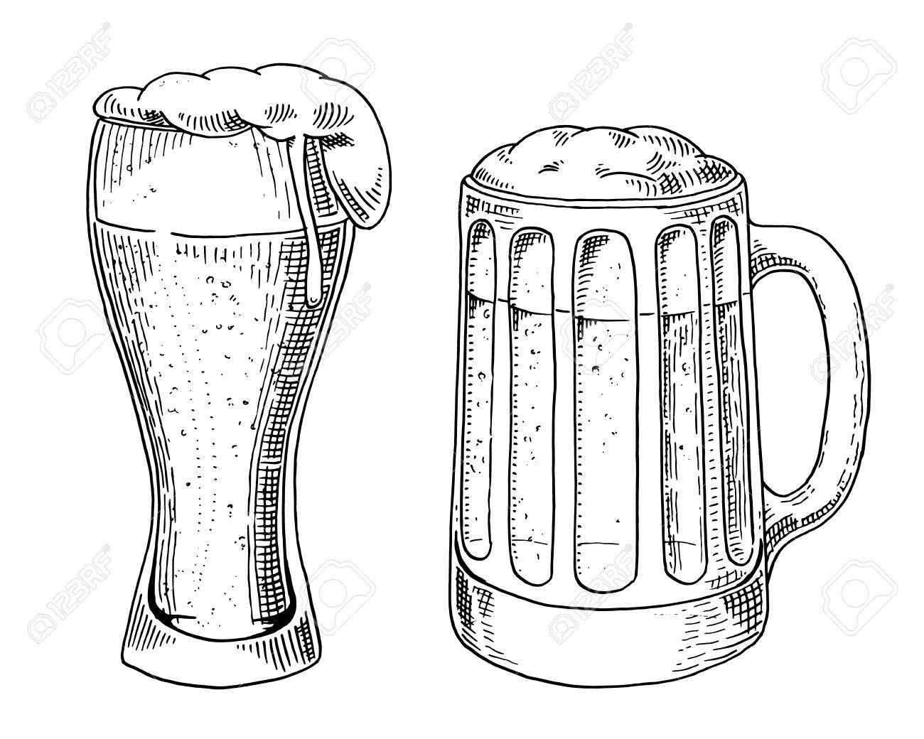 Beer Glass Mug Or Bottle Of Oktoberfest Engraved In Ink Hand Royalty Free Cliparts Vectors And Stock Illustration Image 84991330