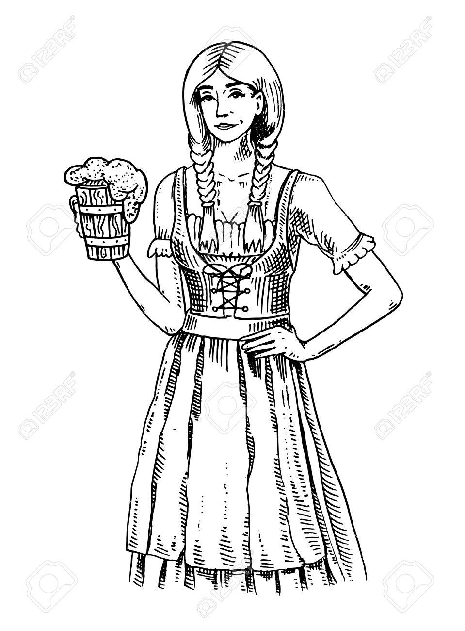 A Woman In Traditional Belgian Or Bavarian Clothes With Beer