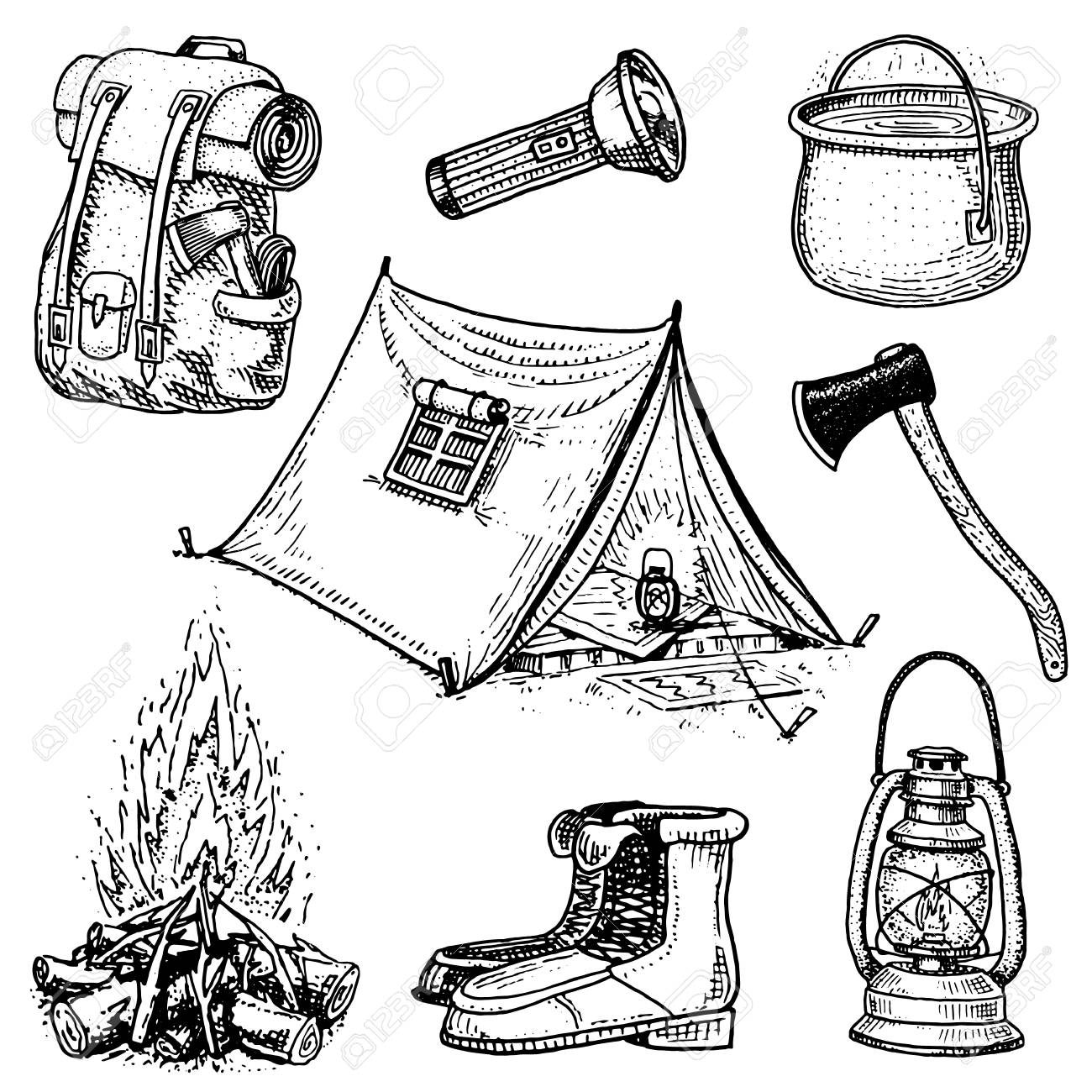Camping Trip Outdoor Adventure Hiking Set Of Tourism Equipment Engraved Hand Drawn