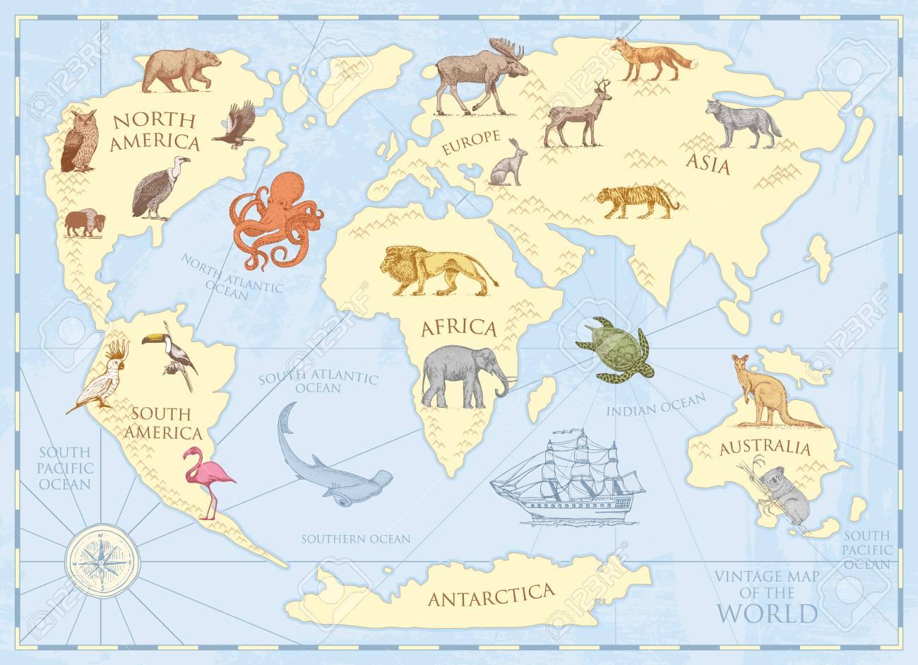 Vintage world map with wild animals and mountains.