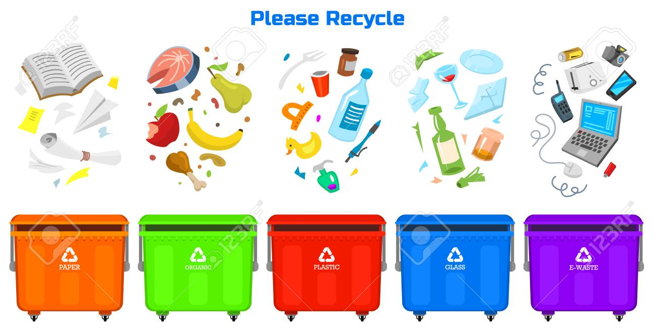 Recycling garbage elements. Bag or containers or cans for different trashes. - 99186811