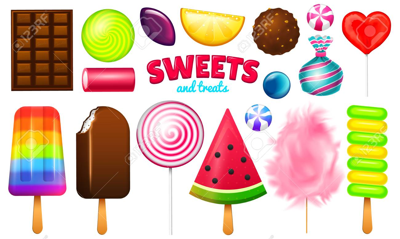 Realistic Sweet candies set. Swirl caramel, assorted circle lollipops, dragee and chocolates, fruit jelly, Sugar clouds, cotton and watermelon. 3d vector illustration. holiday colors in modern style. - 100892753