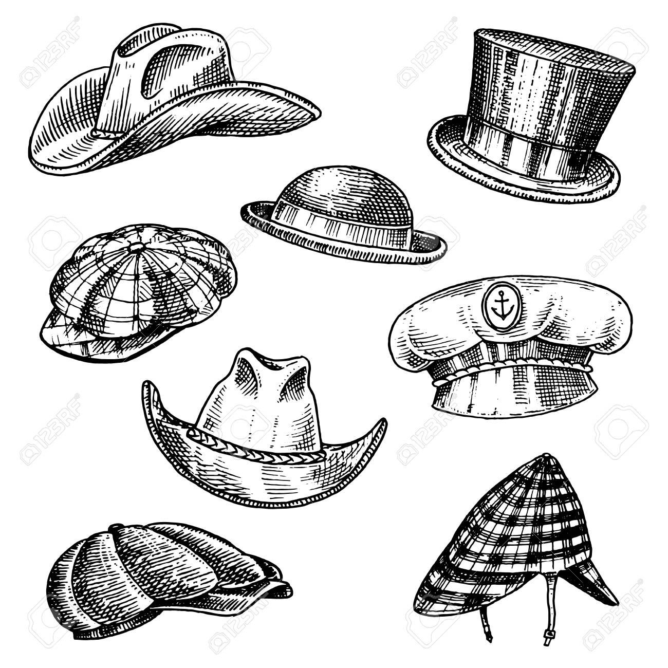 63fca71c Summer Hats vintage collection for elegant men. Fedora Derby Deerstalker  Homburg Bowler Straw Beret Captain