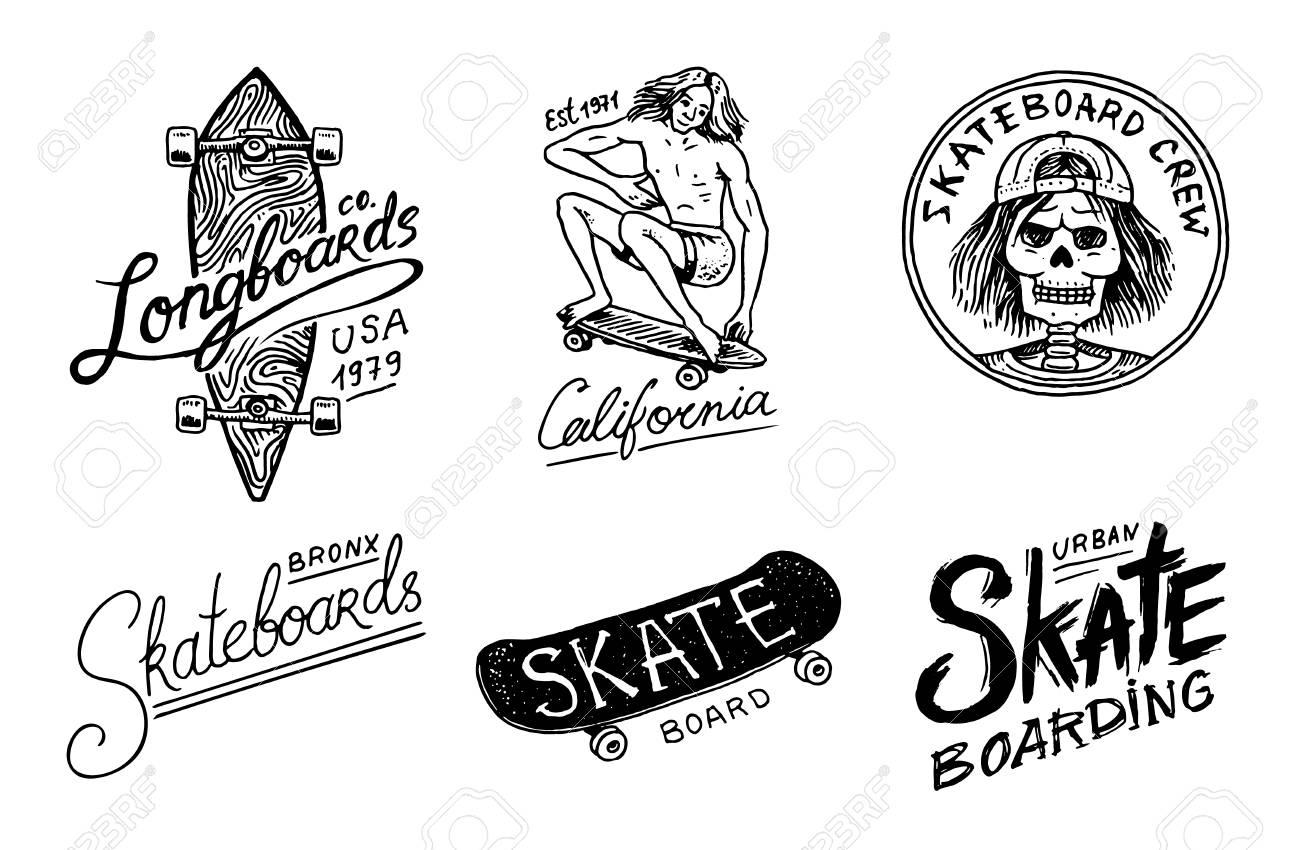 Set of Skateboarding labels logo  Vector illustration with Skeleton