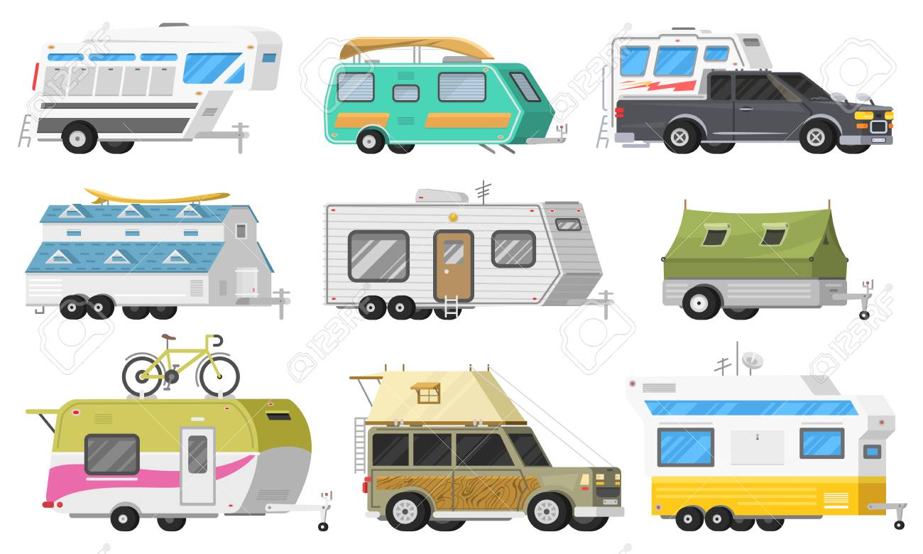 A set of trailers or family RV camping caravan  Tourist bus and