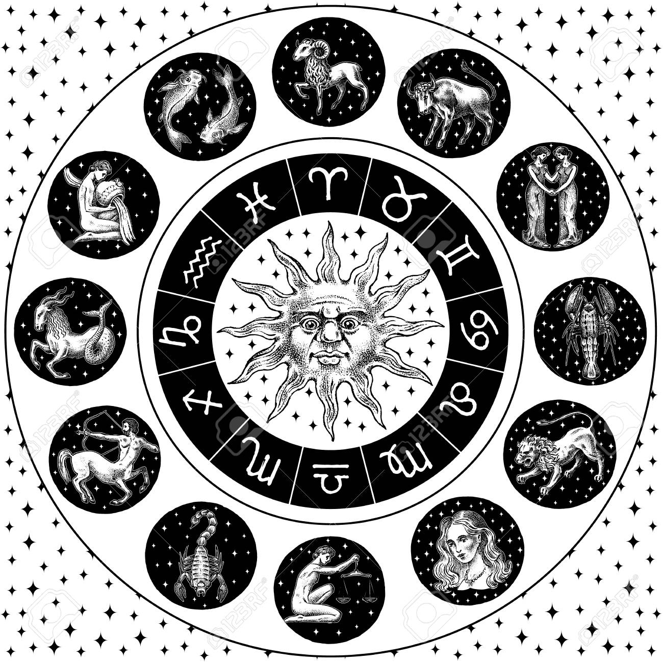 Zodiac Wheel. Astrology horoscope with circle, sun and signs. Calendar template on black background. Collection outline animals. Poster or banner, Label or sticker. Engraved hand drawn vintage sketch - 115598511