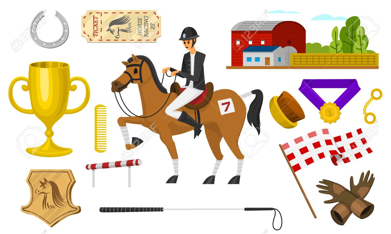 Set of Horseback riding. Racing icons for Activity Jockey club. Set of Equipments for Equestrian Sport poster. Accessories horseshoe, whip, horse saddle, hippodrome, equine bridle for dressage. - 123257447