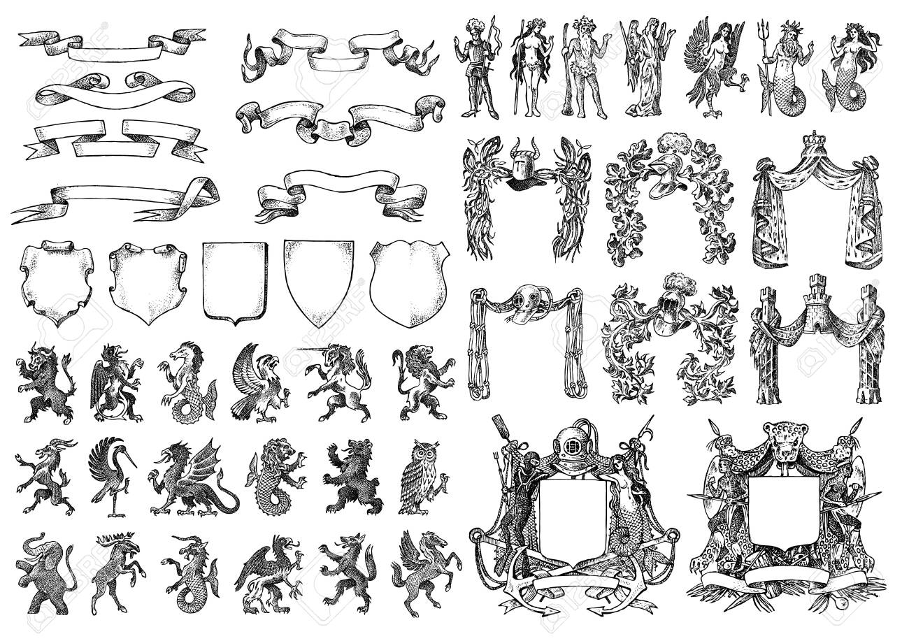 Heraldry in vintage style. Engraved coat of arms with animals, birds, mythical creatures, fish. Medieval Emblems of the fantasy kingdom. - 123609128