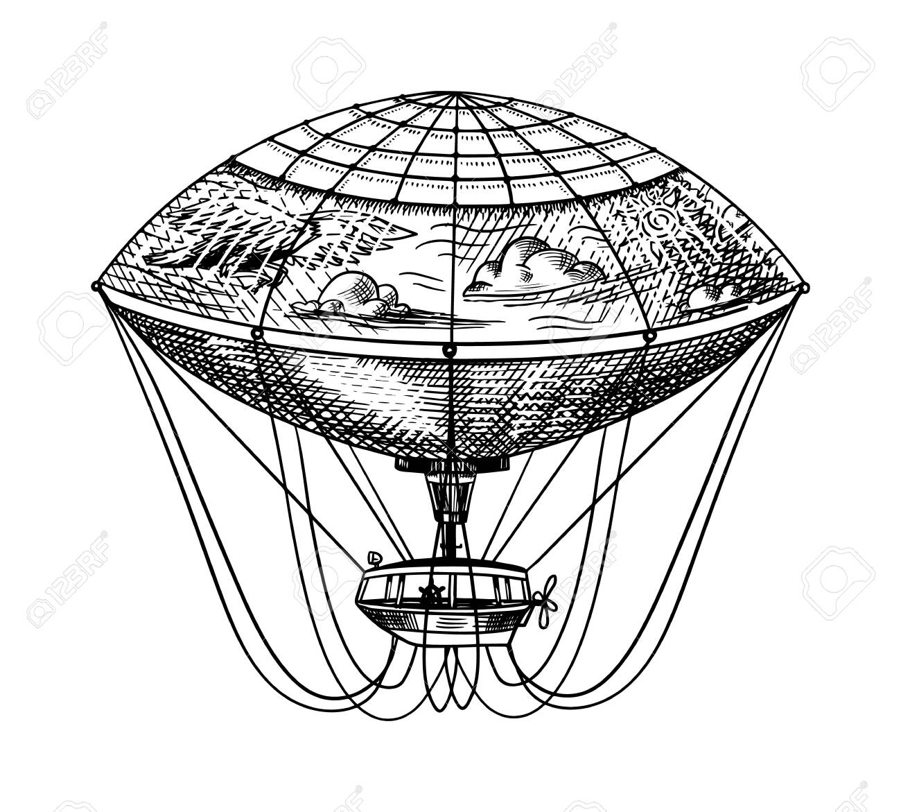 Vintage Hot Air Balloon. Vector retro flying airship with decorative elements. Template transport for Romantic Hand drawn Engraved sketch. - 125708775