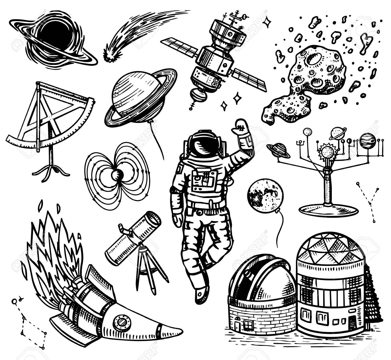 Astronomy background in vintage style. Space and cosmonaut, moon and spaceships, meteorite and stars, planets and observatory. Hand drawn in retro doodle style. - 128029146