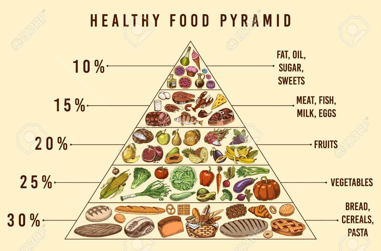 Healthy food plan pyramid. Infographics for Balanced Diet percentage. Lifestyle concept. Ingredients for meal plan. Nutrition guide. Hand drawn in vintage style. - 129902057