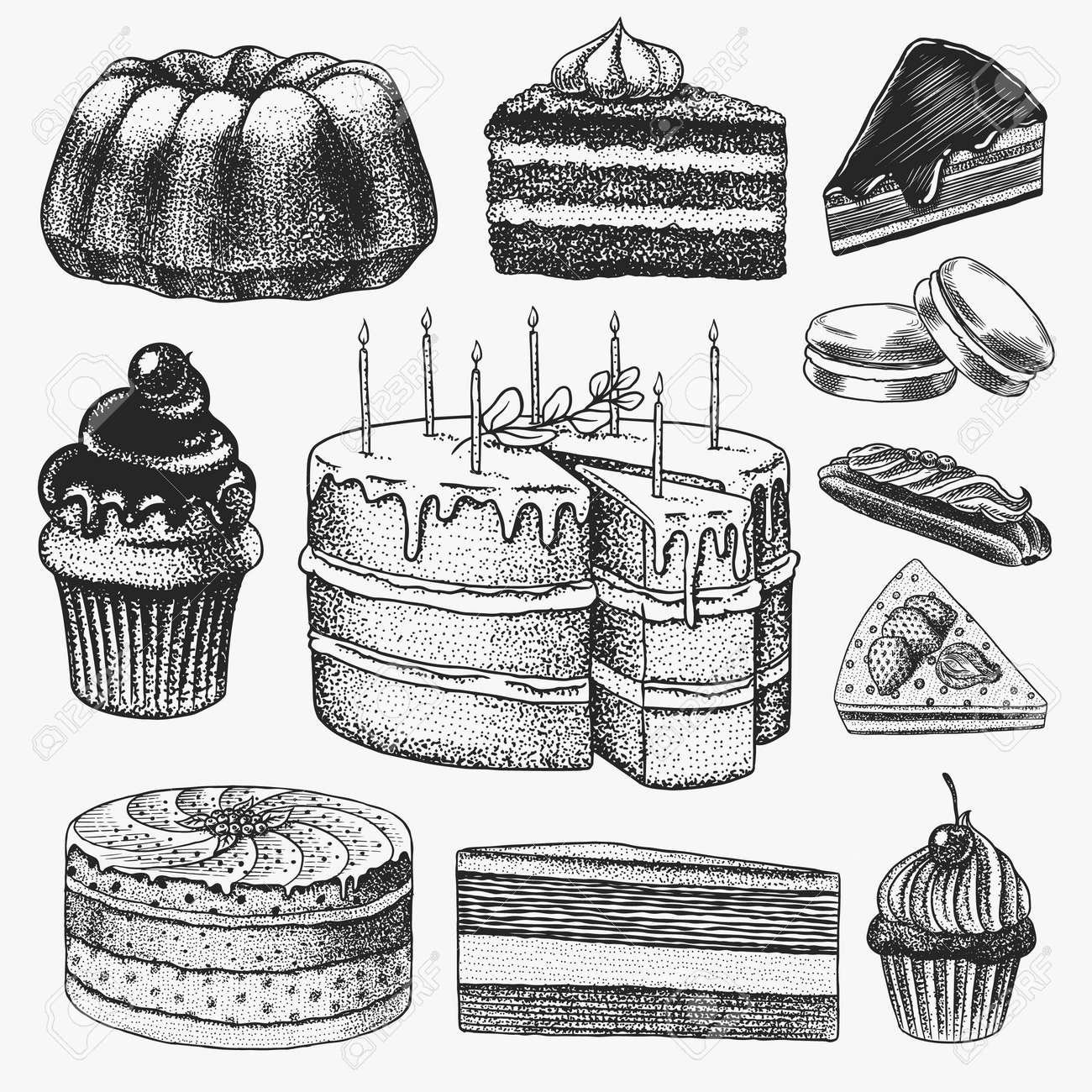 Cakes and cream tarts, fruit desserts and muffins. Chocolate Donuts, Sweet Food. Hand drawn pastries. Vintage engraved sketch. Vector illustration for a banner or menu of a cafe and restaurant. - 159988702