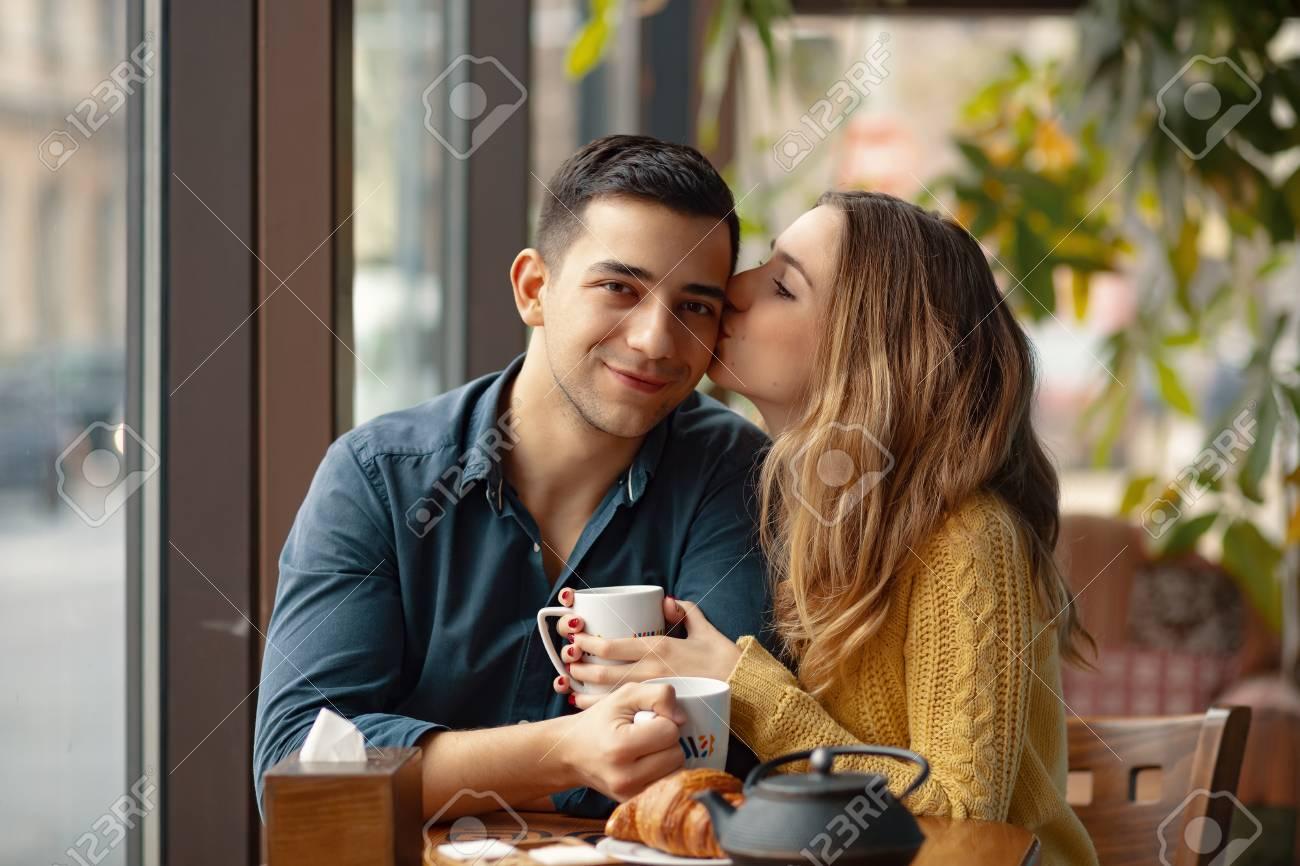 coffee date kiss