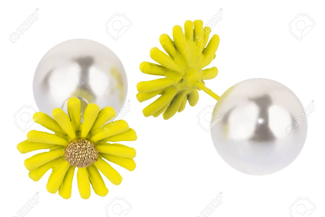 Pair Of Double Silver Earrings With Big Pearl And Big Yellow