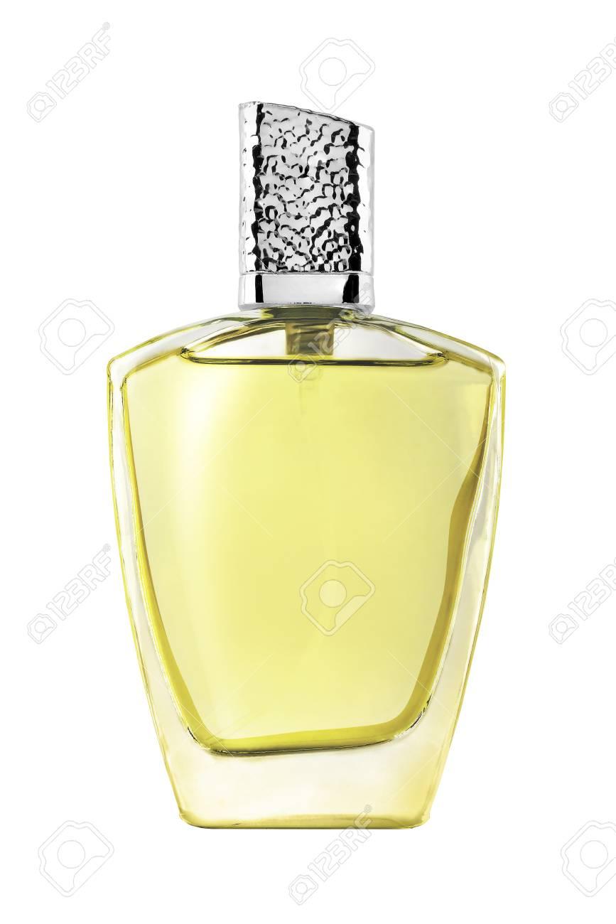 Jaune BlancUn Rectangle Élégant En Verre Avec Homme Fond Sur Tracé Couvercle Bouteille ArgentéIsolé Détourage Inclus De Parfum xCBeWord
