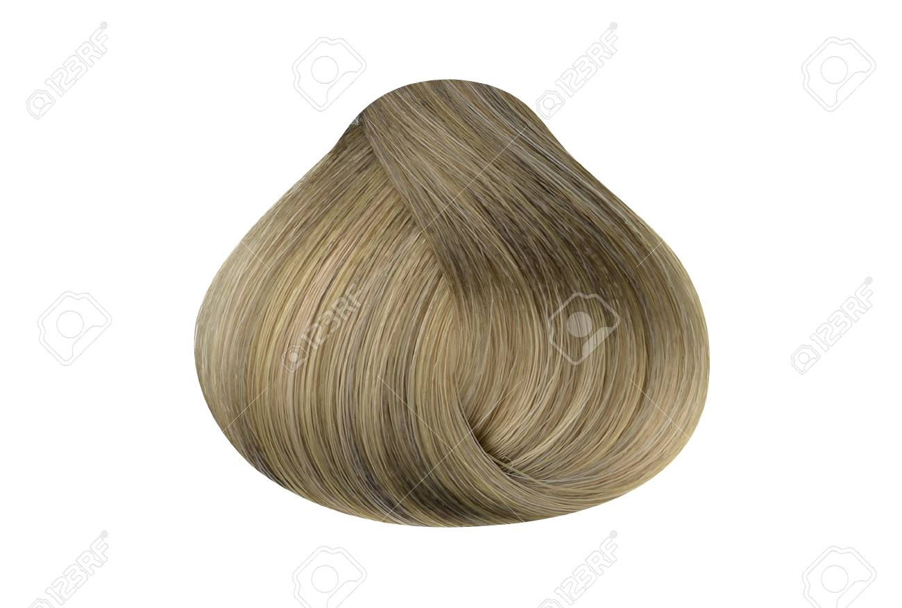 Lock Of Ash Blonde Hair Color Sample Rounded Shape Isolated